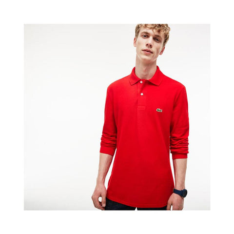 Lacoste Mens Long Sleeve Classic Pique Polo Red L1312-51 240