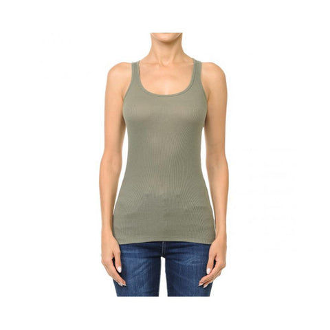 Aplaze Ribbed Scoop Neck Racerback Tank Top Military Green 66000