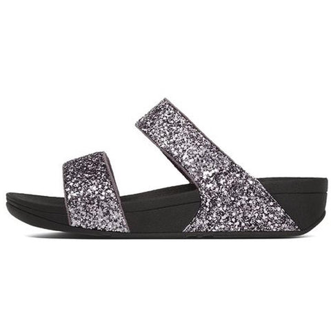 Fitflop Womens Glitterball Slide Sandals Pewter  H24-054