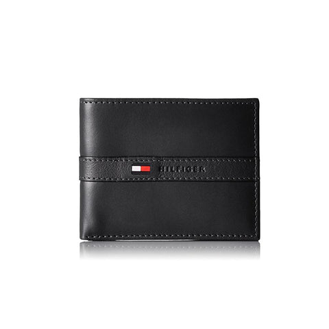 Tommy Hilfiger Men's Ranger Leather Passcase Wallet Black 31TL22X062