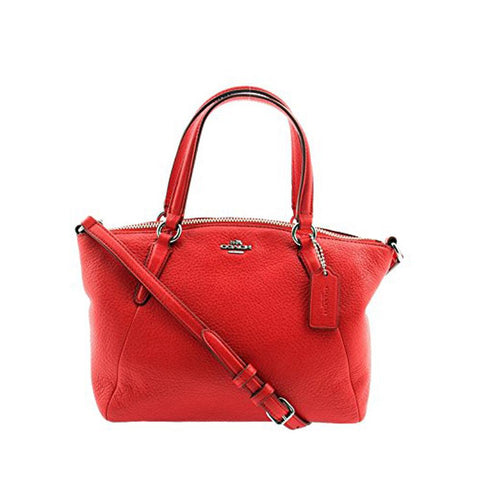 Coach Pebble Leather Mini Kelsey Satchel Bright Red F57563