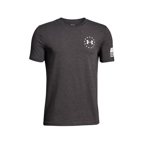 Under Armour Boy's Freedom Flag T-Shirt Charcoal Medium Heather/White 1299261-019