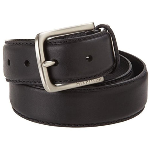 Tommy Hilfiger Men's Leather Stitch Belt Black 11TL02X038