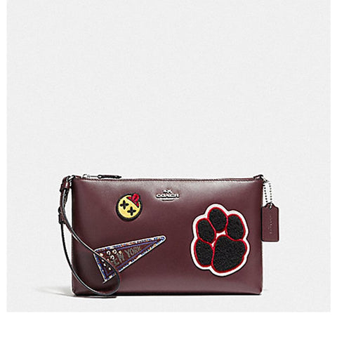 Coach Large Wristlet 25 in Refined Calf Leather with Varwity Patches Oxblood F20965