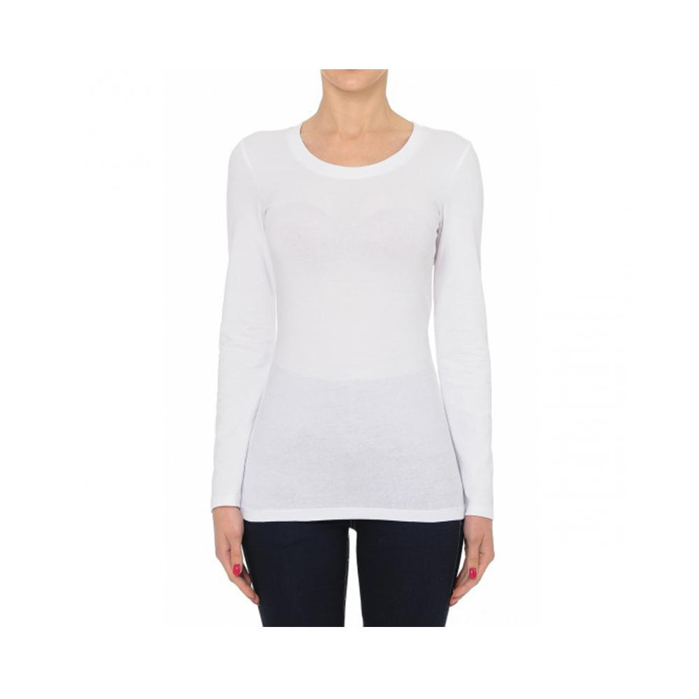 Aplaze Round Neck Long Sleeve Basic Top White 62800