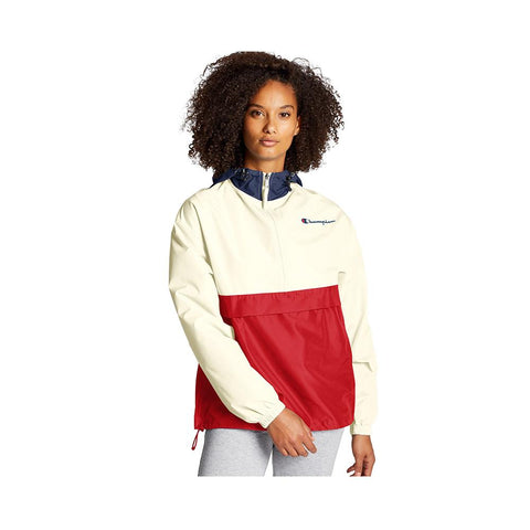 Champion Color Blocked Packable Jacket Athletic Navy/Chalk White/Scarlet J1016 7N+