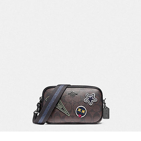 Coach Crossbody Pouch in Signature Coated Canvas with Varsity Patches Brown/Black F12084