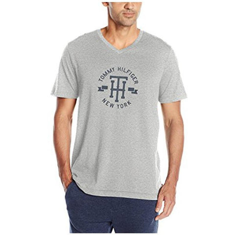 Tommy Hilfiger Men's Short Sleeve V-Neck Th Graphic T-Shirt Gray Heather 09T3092