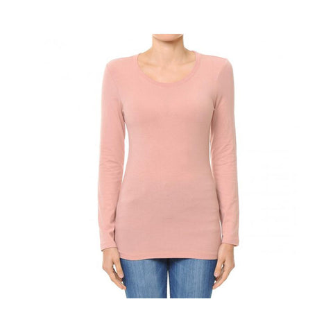 Aplaze Round Neck Long Sleeve Basic Top Mauve 62800