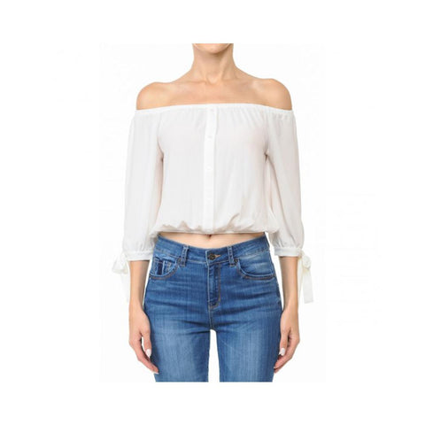 Aplaze Off-The-Shoulder 3/4 Balloon Tie Sleeve Crop Top Off White 70737