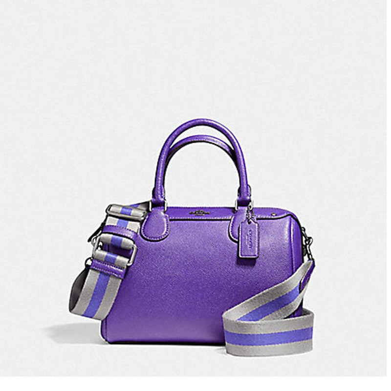Coach Mini Bennett Satchel in Crossgrain Leather with Webbed Strap Antique Nickel Purple F11808