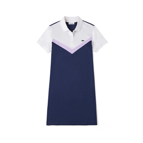 Lacoste Women's Color-Blocked Stretch Cotton Polo Dress Navy Blue/Purple/White EF7353-51 R83