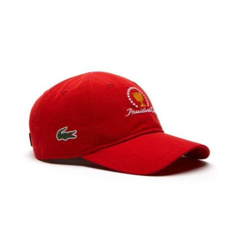 6aa4a318e53 Lacoste Unisex Sport Presidents Cup Edition Microfiber Cap Red RK1885-51-240