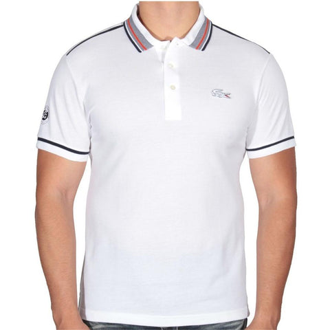 Lacoste Mens Roland Garros Semi Fancy Polo Shirt  White/Navy blue tomato PH2143-51