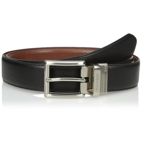 Tommy Hilfiger Men's Dress Reversible Belt with Polished Nickel Buckle Black/Tan 11TL08X013