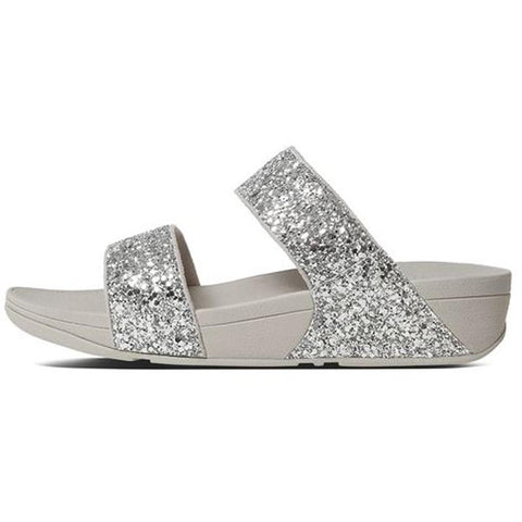 Fitflop Womens Glitterball Slide Sandals Sliver H24-011