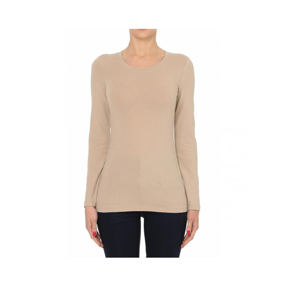 Aplaze Round Neck Long Sleeve Basic Top Desert 62800