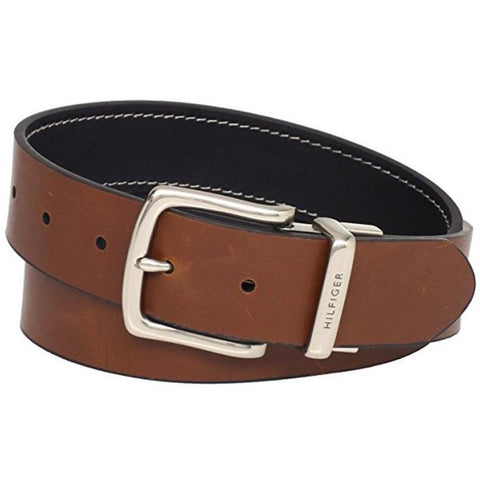 Tommy Hilfiger Men's Contrast-Stitching Jean Belt Black/Brown 11TL08X009