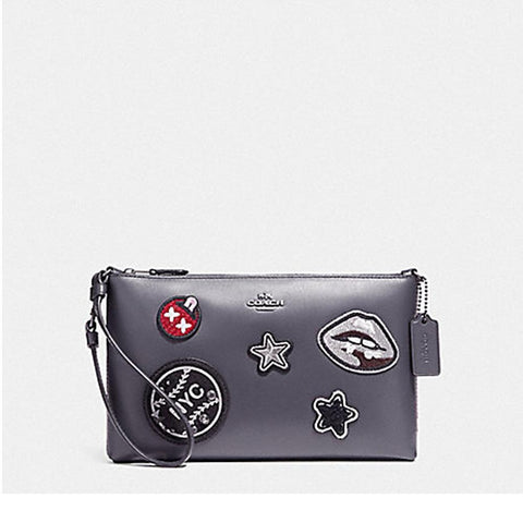 Coach Large Wristlet 25 in Refined Calf Leather with Varwity Patches Midnight F11895