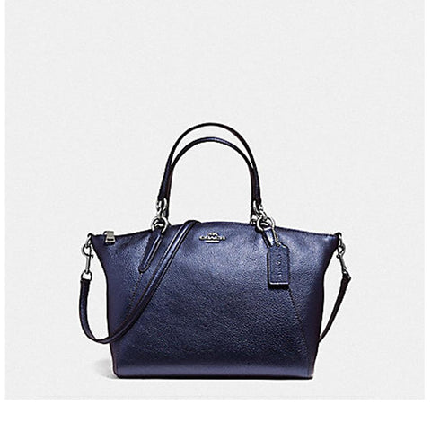 Coach Small Kelsey Satchel in Metallic Pebble Leather Metallic Navy F56127