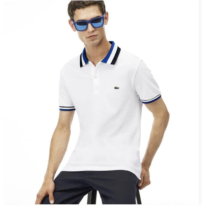 Men's Lacoste Matte Piping Petit Pique Slim Fit Polo White/Sapphire-blue PH2011-51 - APLAZE