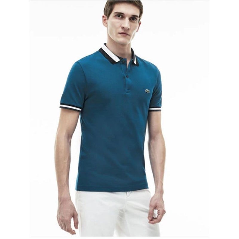 Men's Lacoste Matte Piping Petit Pique Slim Fit Polo Sapphire Blue/Deauville-B PH2011-51 - APLAZE