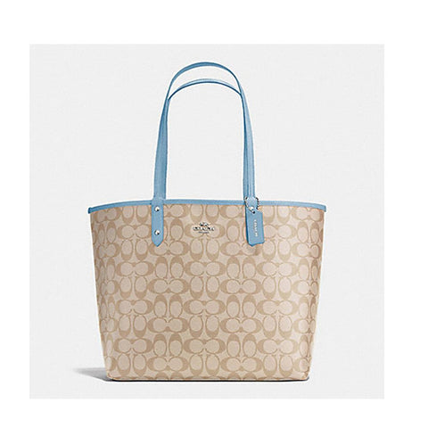 Coach Reversible City Tote Signature Light Khaki/Cornflower F36658