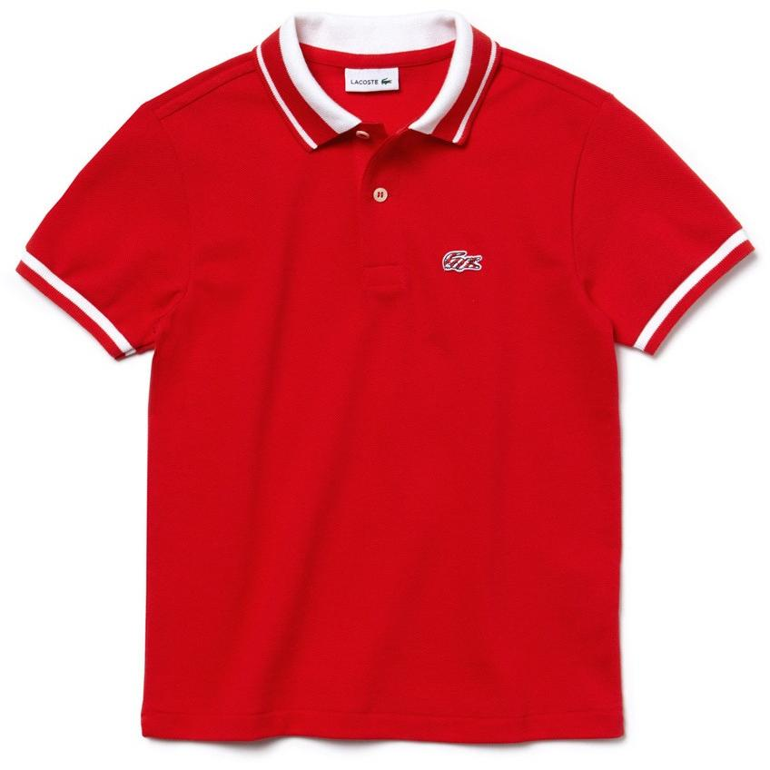 Lacoste Boys Candy Stripe Croc Polo Shirt Grenadine/White - APLAZE
