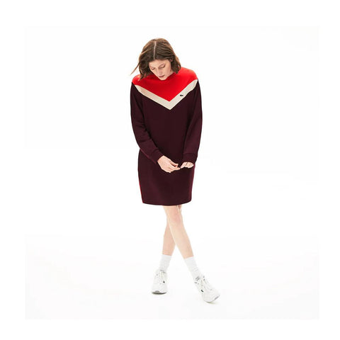 Lacoste Women's Colorblock Fleece Sweatshirt Dress Bordeaux/Beige/Red  EF5769-51 R9B
