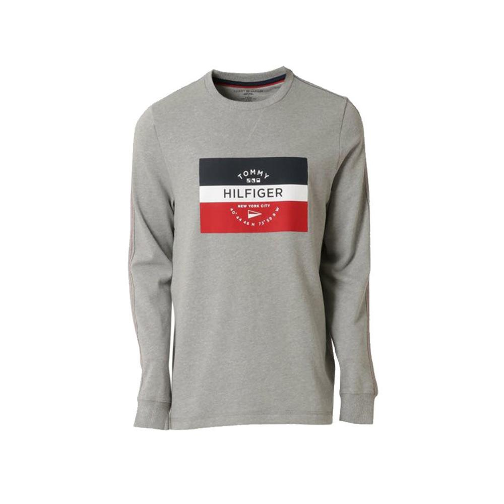 Tommy Hifiger French Terry Long Sleeve Crew T-Shirt Gray Heather 09T3779 004