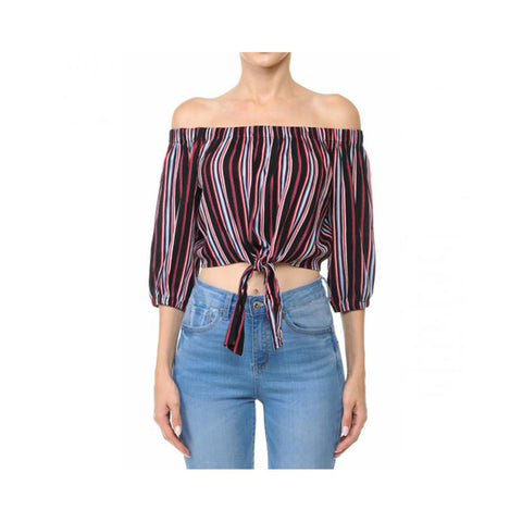 Aplaze Multi-Striped Tie-Front Hem Off-The-Shoulder Flared 3/4 Sleeve Crop Top Black 65944