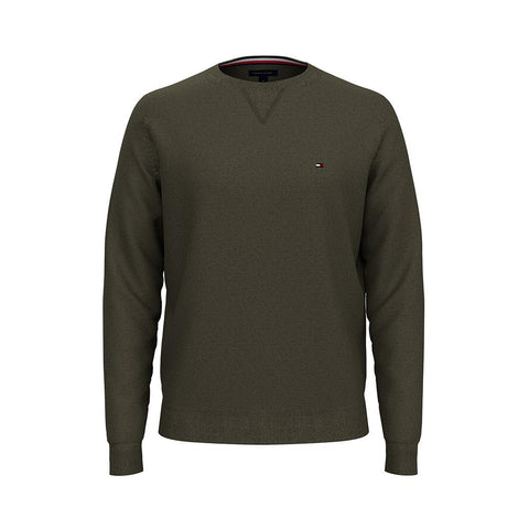 Tommy Hilfiger Men's Signature Solid Crew Neck Sweater Army Green 78J0478 701