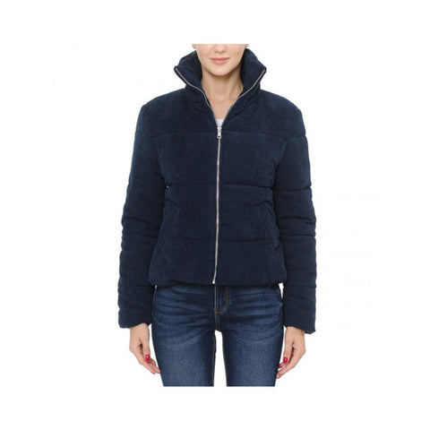 Aplaze High Neck Quilted Corduroy Puffer Jacket Navy 71516