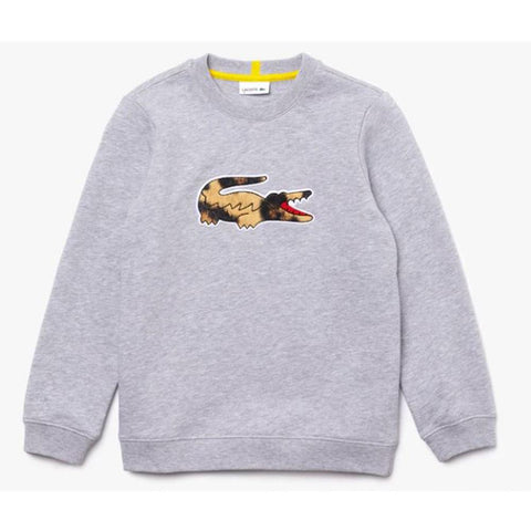 Lacoste x National Geographic Fleece Sweatshirt Grey Chine/White SJ6406-51 6U1