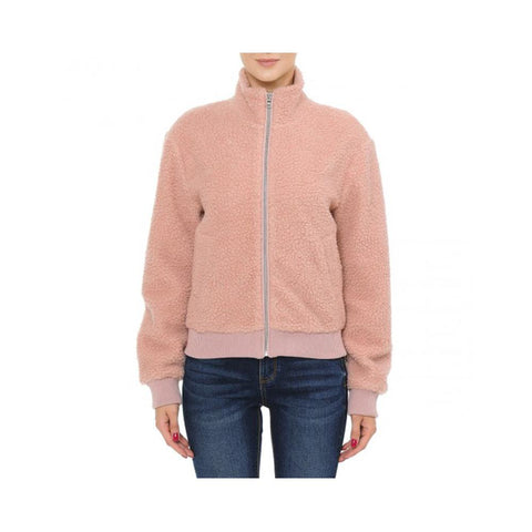 Aplaze Sherpa Mock Neck Zip-up Bomber Jacket Mauve 71885