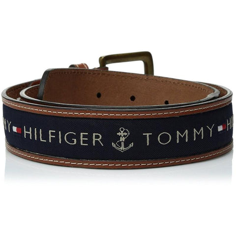 Tommy Hilfiger Men's Ribbon Inlay Belt Navy 11TL02X032