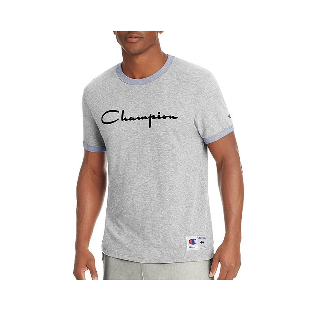Champion Men's Heritage Ringer Tee Oxford Grey/Imperial Indigo Heather T39474