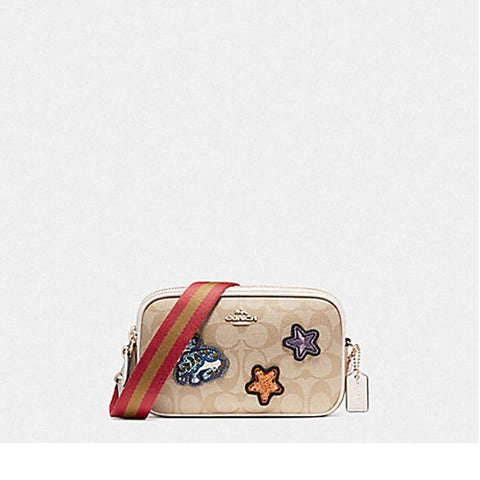 Coach Crossbody Pouch in Signature Coated Canvas with Varsity Patches Light Khaki/Chalk F20963