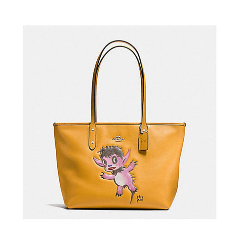 Coach Baseman X CoachBuddy Boy City Zip Tote In Pebble Leather Silver/Mustard  F57729