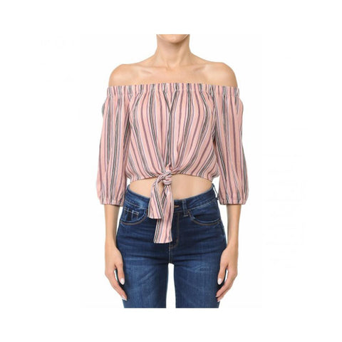 Aplaze Multi-Striped Tie-Front Hem Off-The-Shoulder Flared 3/4 Sleeve Crop Top Mauve 65944
