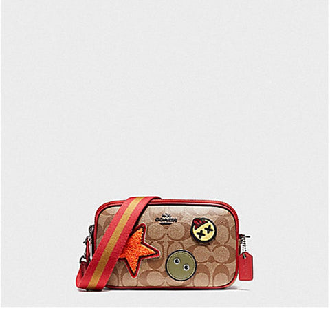 Coach Crossbody Pouch in Signature Coated Canvas with Varsity Patches Khaki/True Red F20964