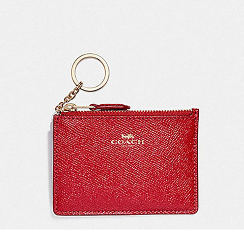 Coach  Mini Skinny ID Case in Crossgrain Leather True Red F12186