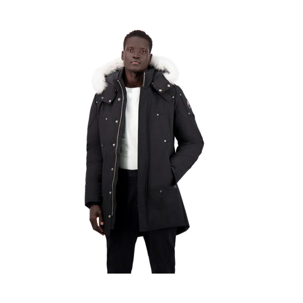 Moose Knuckles Mens Stirling Parka Black with White Fur MK4661MP-290