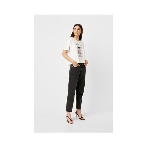 French Connection Le Frenchie Cropped Cropped T-Shirt White 76MBW