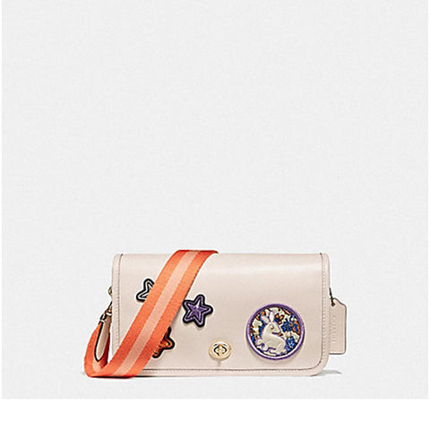 Coach Penny Crossbody in Refinded Calf Leather with Varsity Patches and Webbed Strap Light gold/Chalk F20913