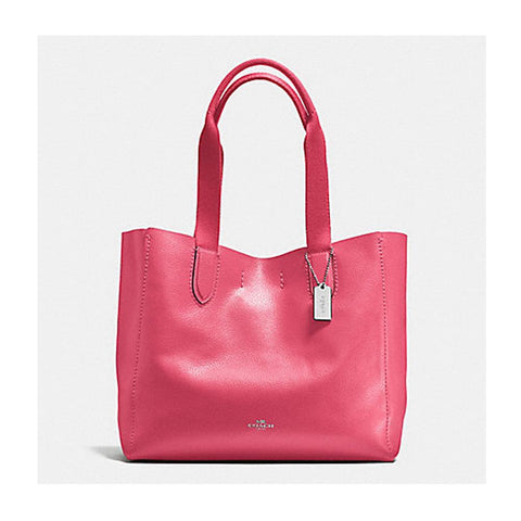 Coach leather Derby Tote Strawberry Bright Red F58660