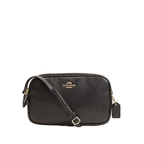 Coach Pebble Learher Crossbody Pouch Black F65988