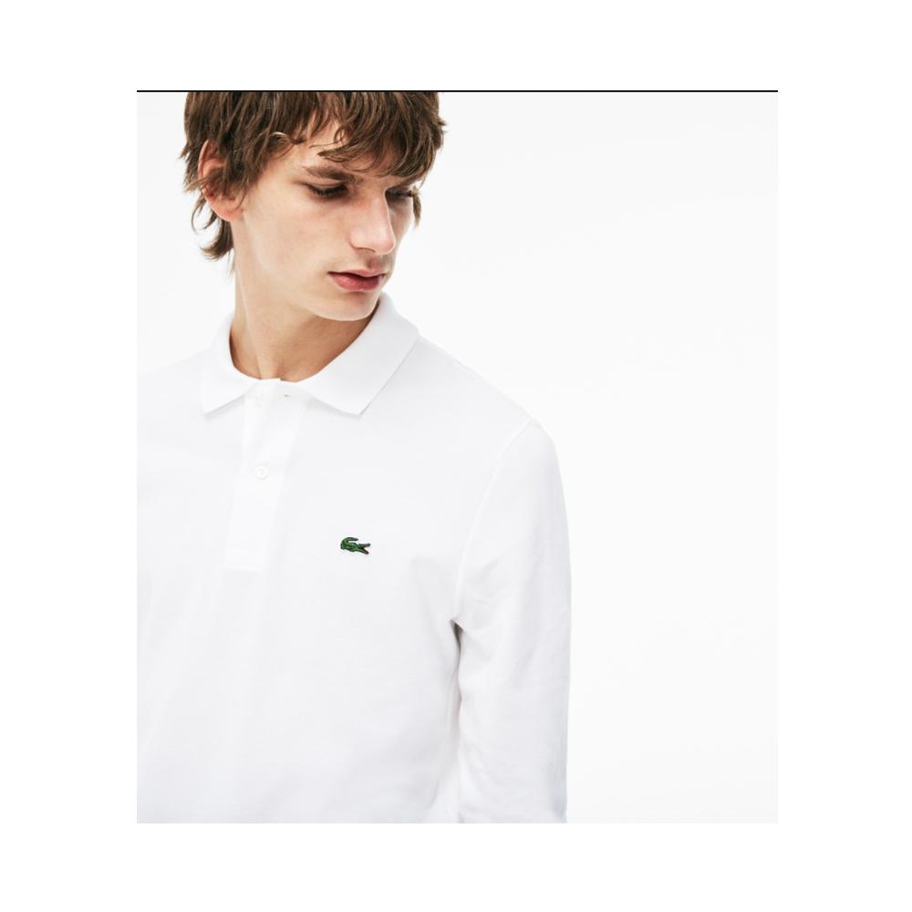 Lacoste Mens Long Sleeve Classic Pique Polo White L1312-51 001