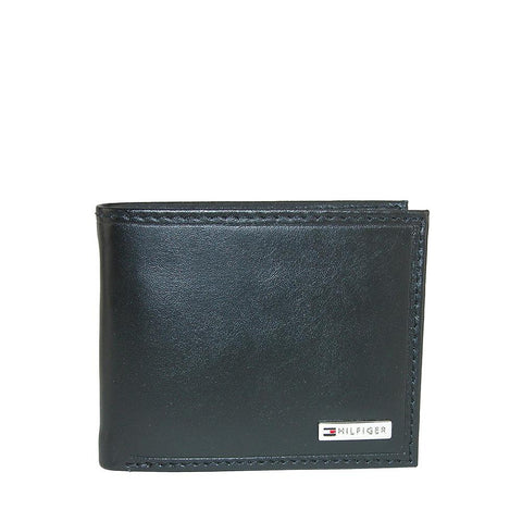 Tommy Hilfiger Men's Leather Coin Card Bi-Fold Wallet Black 31TL130049