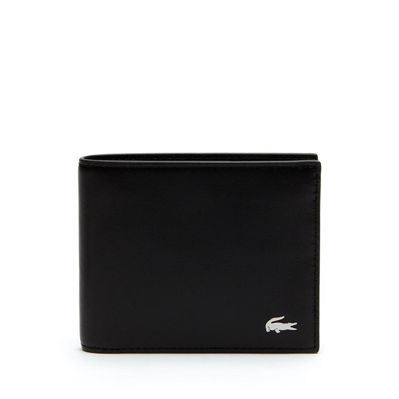 Lacoste Men's fitzgerald Leather Wallet and Key Chain Set Black NH2506FG